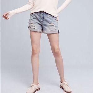 Anthropologie Pilcro hyphen denim roll-up shorts